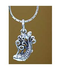 men's sterling silver necklace, 'koi' (indonesia)