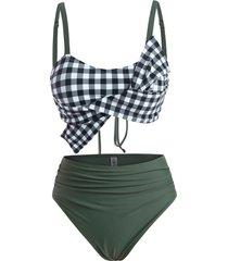 bowknot lace-up ruched gingham tankini swimwear