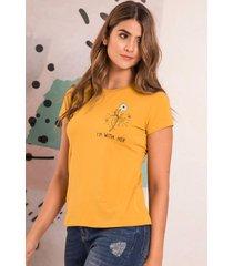camiseta im with her amarillo ragged pf51120416