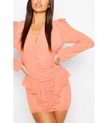 petite ruched frill chiffon dress, coral