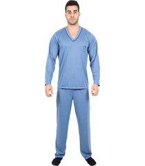 pijama 4 estações modas adulto blusa manga comprida masculino inverno azul claro