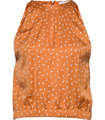 rodebjer loulou paisley blus ärmlös orange rodebjer