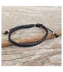 men's braided leather bracelet, 'single black braid' (thailand)