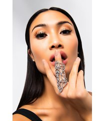 akira rhinestone embellished full finger statement ring