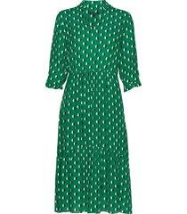 dress, feminine shape, v-neck with knälång klänning grön marc o'polo