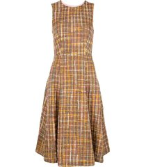 adam lippes check tweed fluted dress - multicolour