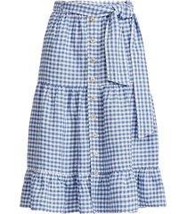 gingham linen tiered skirt