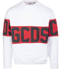 gcds man white round-neck sweatshirt with logo band