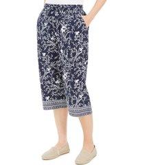 karen scott petite border-print capri pants, created for macy's