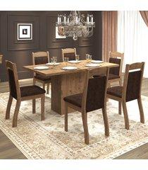 mesa de jantar 6 lugares tafetá dover/chocolate - mobilarte móveis