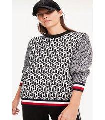 sweater estampado monogramas th negro tommy hilfiger