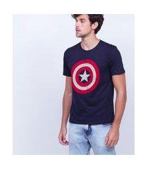 camiseta manga curta com estampa marvel capitão américa | avengers | azul marinho | m