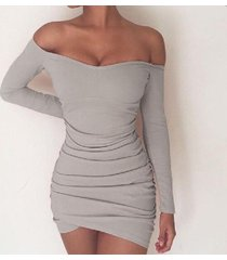 gray fashion women off shoulder long sleeves sexy tight short dress
