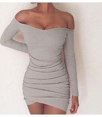 gray fashion women off shoulder long sleeves sexy tight short dress