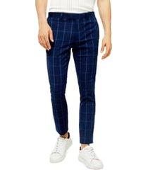 men's topman page windowpane check super skinny dress pants, size 32 x 30 - blue