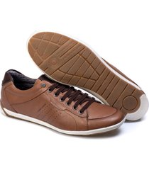 sapatenis couro tchwm shoes masculino elegante moderno marrom - kanui