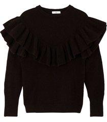 finstickad tröja med rund halsringning och volanger