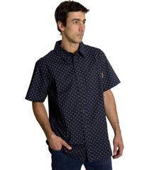 camisa hombre patric full print sh azul marino merrell