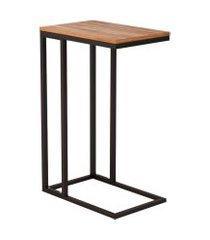 mesa lateral retangular elena wood marrom e preta