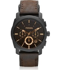fossil designer men's watches, machine mid-size chronograph brown leather men's watch