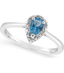 swiss blue topaz (1/2 ct. t.w.) and diamond accent pear teardrop ring in sterling silver (also available in other gemstones)