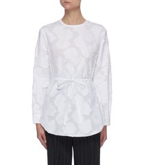abstract floral patch tie waist long sleeve cotton blouse