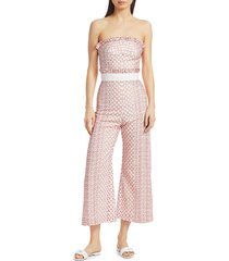alexis barbara women's pretti embroidered ruffle jumpsuit - pink - size s