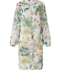 jurk iets wijdere lange mouwen en print van gerry weber wit