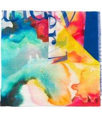 alexander mcqueen watercolour lightweight scarf - blue