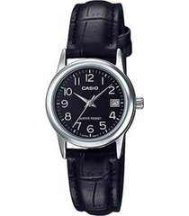 reloj casio dama elegante ltp-v002l-1b color plateado