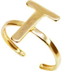 anel letra t liso regulável banhado a ouro 18k