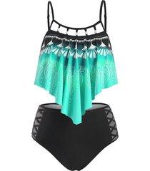 leaf print beading embellished criss criss tankini swimsuit