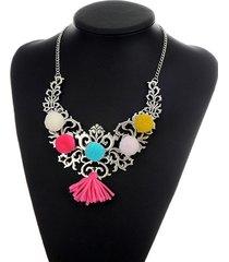 collar plateado con borla de colores sasmon cl-13224