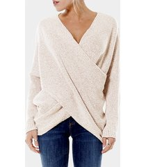 beige cross front v-neck irregular hem jumper