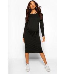 zwangerschap midi bodycon jurk met ronde hals, zwart