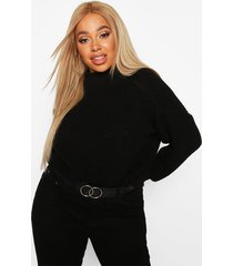plus high neck batwing chunky knit sweater, black