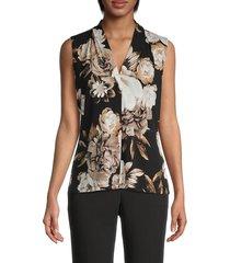 calvin klein women's floral sleeveless top - khaki black multicolor - size m