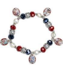 patricia nash silver-tone imitation pearl, bead & cameo charm stretch bracelet