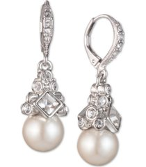 givenchy imitation rhodium crystal and imitation pearl small drop earring