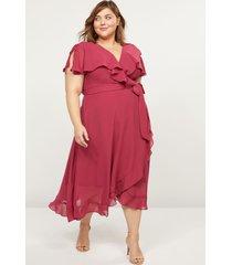 lane bryant women's flutter-sleeve faux-wrap midi dress 18 wine