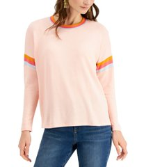 style & co striped crewneck knit top, created for macy's