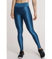 calça legging feminina esportiva ace texturizada azul petróleo
