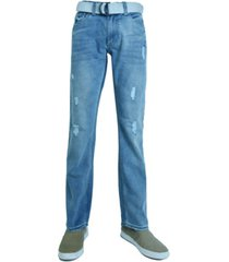 flypaper men's fashion regular fit ripped straight leg jeans with belt