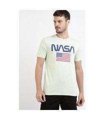 """camiseta masculina nasa"""" manga curta gola careca verde"""""""