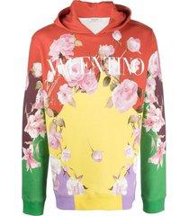 valentino rose-print hoodie