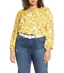 plus size women's halogen v-neck blouse, size 1x - yellow