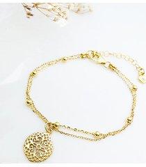 złocona bransoletka z zawieszką rozetką