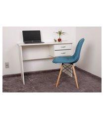 kit escrivaninha com gaveteiro branca + 01 cadeira eiffel botonê - turquesa