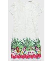 vestido blanco-multicolor desigual