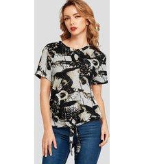 yoins camiseta negra con estampado abstracto anudado redonda cuello